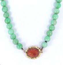K VINTAGE 14K ORO GIALLO BAMBOO intagliato Opale di fuoco naturale giada verde