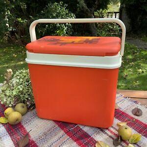 Vintage Retro Cool Box Orange Ice Box Picnic Carrier With Handle VW Camper Van