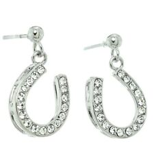Horseshoe Earrings Made With Swarovski Crystal Good Luck Charm New Jewelry