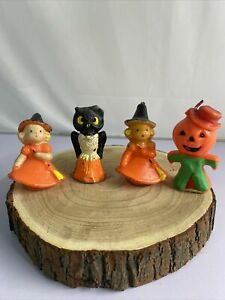 Vintage Gurley Candle Company 2 Witch Pumpkin Man And Owl
