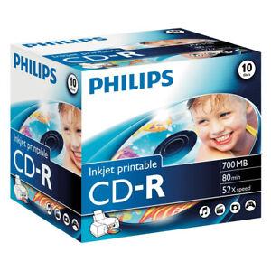 10x Philips CD-R 700 MB Inkjet Printable Rohlinge 80 Minuten 52x Speed Jewelcase