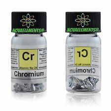 5 grams 99,8% Chromium metal element 24 Cr pieces in labeled glass vial