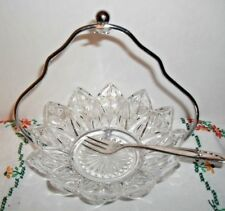 VINTAGE CLEAR PETAL MINT DISH FEDERAL GLASS w/CADDY & SPOON~DISC.1960~PICKLES