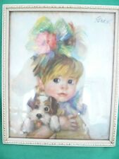 Vintage 1960's Girl with Puppy ~ Amanda by John Strevens (STREV)~ Kitsch Retro