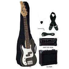 "Raptor 38"" Junior 3/4 Size 4 String Kid's Electric Bass Pack - Black LEFT HAND"