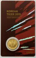 2019 South Korean KOMSCO Tiger 1/10 oz 999 Gold Sealed Red Assay Card Serial #69