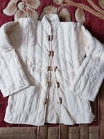 INDIAN COTTON QUILTED WINTER FOR WOMENS X SMALL SIZE JACKET COAT  XS/6 Cream