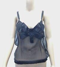 New $565 Dolce & Gabbana Womens Black Silk Sleeveless Bow-Tie Tank Top Size 6/42