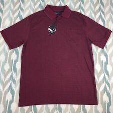Mark Edwards Men's Short Sleeve Polo Button Front Golf Shirt Purple Size L Large