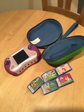 LeapFrog Leapster 2 Learning System In Pink & Purple w /5  Games and Green Case