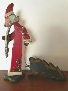 """Primitive Folk Art Carved Wood Santa Claus Father Christmas With Tree 16"""" Tall"""