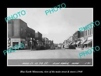 OLD LARGE HISTORIC PHOTO OF BLUE EARTH MINNESOTA, THE MAIN ST & STORES c1940