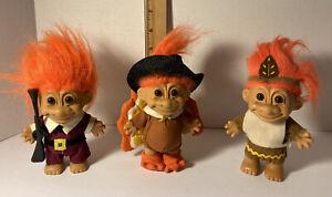 3 Vintage Troll Doll Russ Pilgrim Musket + Indian Native American + Turkey