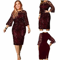 New Plus Size Women 3/4 Sleeves Perspective Sequins Patchwork Club Party Dress