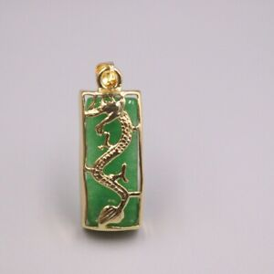 GP Heating Jade Pendant For Women Female Gold Lace Rectangle Dragon Charms