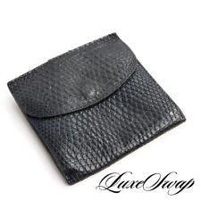 Bottega Veneta Made in Italy Navy Blue Genuine Lizard Iguana Bifold Snap Wallet