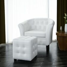 Modern Faux Leather Armchairs Footrest Stool Sets Lounge Chair Furniture White