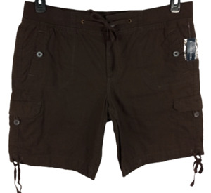 NWT Faded glory brown women's drawstring pockets linen blend bermuda short 16