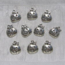 LOT 10 BRELOQUES CITROUILLE HALLOWEEN PERLES CHARMS METAL ARGENTE 18x16mm *B124
