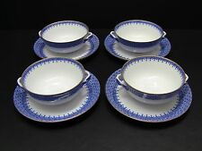 Mottahedeh BLUE LACE Cream Soup Bowls with Saucers / Set of 4