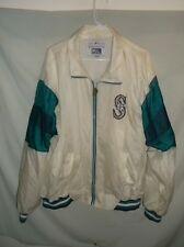 VTG 90's Seattle MARINERS jacket XL lined Windbreaker white nylon MLB coat