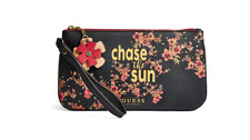 Guess Handbag Purse Wristlet Hand Pouch tote Bag coin Zip Flowers CHASE THE SUN
