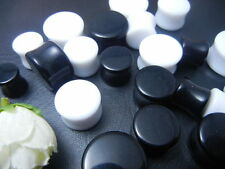 Lot50pcs Acrylic White/Black Ear Plug Expander Solid Earlets Tunnel 10mm-20mm