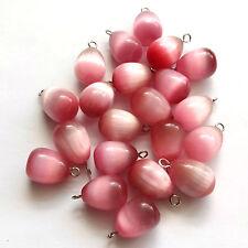 8 Pink Cat's Eye Glass 16x12mm Drop Beads