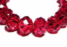 30Pc 8mm Austrian 5040 Faceted Crystal Rondelle Beads - Ruby Red Siam (BR815)