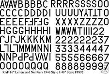 """RAF Numbers and Letters 16"""" water slide transfers decals 1/48 for 1946- FP892Blk"""