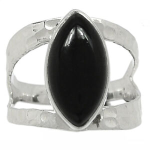 Hammered Design - Black Onyx - Brazil 925 Silver Ring Jewelry s.7.5 BR97231