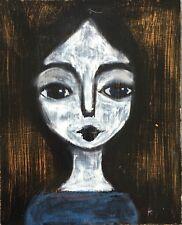 Original Oil pastel painting 'Portrait of a Goth Girl' Folk Art style  8x10