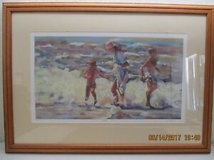 """LUCELLE RAAD """"Family"""" Seriolithograph on Wove - Paper Beach Wave Scene"""