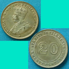 Straits Settlements 20 Cents 1919 km 30a Silver