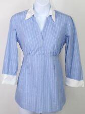 Motherhood Maternity blouse small 3/4 sleeve, tie back, blue,white stripes EUC