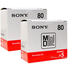 10 Sony Minidisc 80 Minutes MD Mini Disc Blank Recordable Made in Japan Genuine