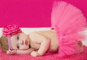 Baby Newborn Tutu & Headband Set - Candy Pink - 0-24 Months