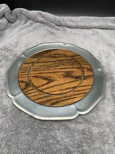 """International Pewter Round Plate Platter Tray Fluted Edge 11.5"""" With Wood Center"""