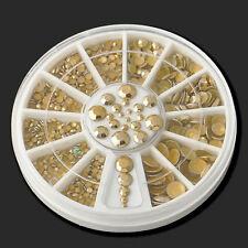 5mm 300pcs 3D Acrylic Nail Art Tips Gold Gem Glitter Rhinestone Wheel Manicure