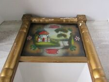 "Antique Reverse Painted Glass Cottage Scene Long Mirror 28"" long."