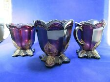 Antique Northwood 1900 deep purple amethyst glass sugar creamer spooner