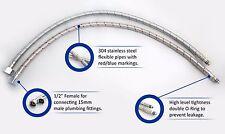 "10mm x 1/2"" 400mm Long Basin Monobloc Mixer Tap Connector Flexi Hose Pipe Tail"