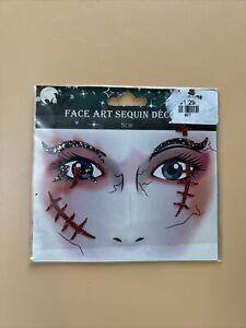 Zombie Cosplay Costume Glitter Face Design Tattoo Makeup Art Halloween Scar