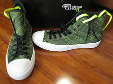 NEW Converse Chuck Taylor All Star II Knit Hi Shoe MEN 11 Black/Volt 151086C $85
