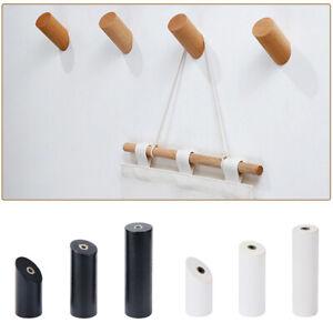 4 x Cylindrical Wood Wall Mounted Coat Hook Hanger Bathroom Wall Hook Organizer