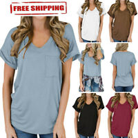 Summer Womens Casual Pocket Short Sleeve V-Neck Loose Tops Cotton Blouse T-Shirt