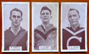 1933 Wills VFL Cigarette Cards:  CAMBERWELL  x  3
