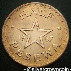 Ghana Half Pesewa 1967. KM#12. 1/2 Cent Penny coin. Bush Drums. Star.