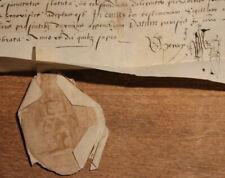 1575 manuscript latin parchment wax seal catolic doctor capacity italian notes