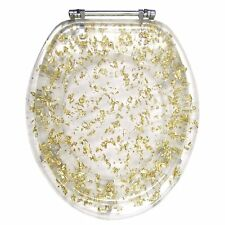 GOLD FOIL RESIN ACRYLIC TOILET SEAT, ELONGATED ROUND WITH CHROME HINGES